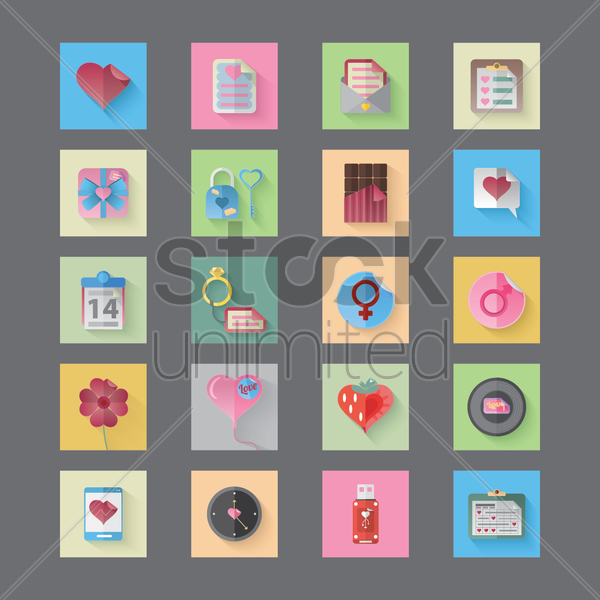 collection of various objects with heart shape vector graphic