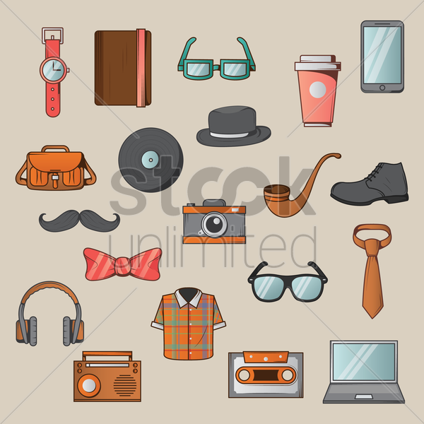 collection of various objects vector graphic