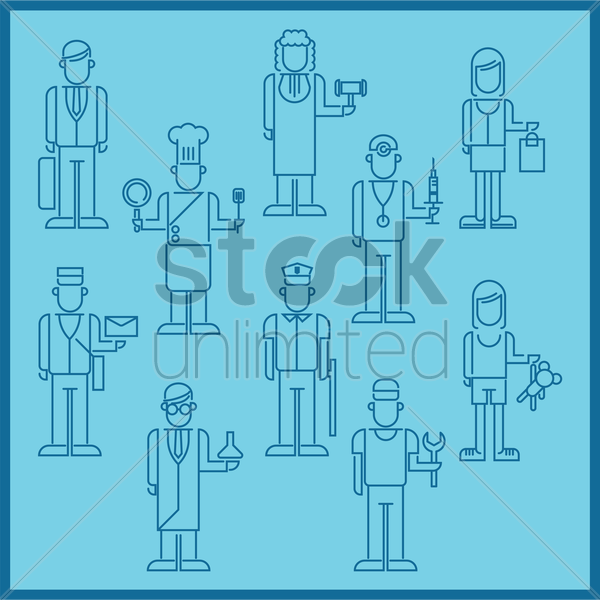 collection of various people vector graphic