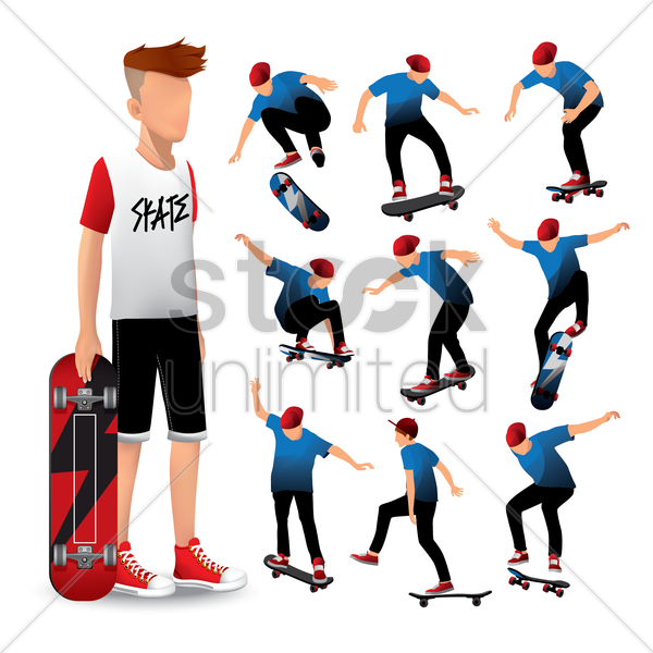 collection of various skateboarding stuns vector graphic