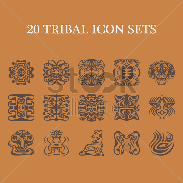 collection of various tribal tattoos vector graphic