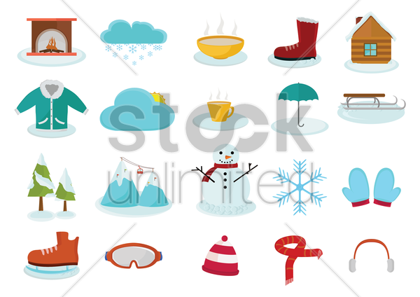 collection of various winter related things vector graphic