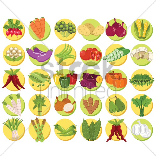 collection of vegetable sets vector graphic