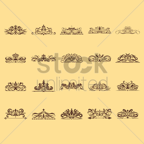 collection of victorian frames vector graphic