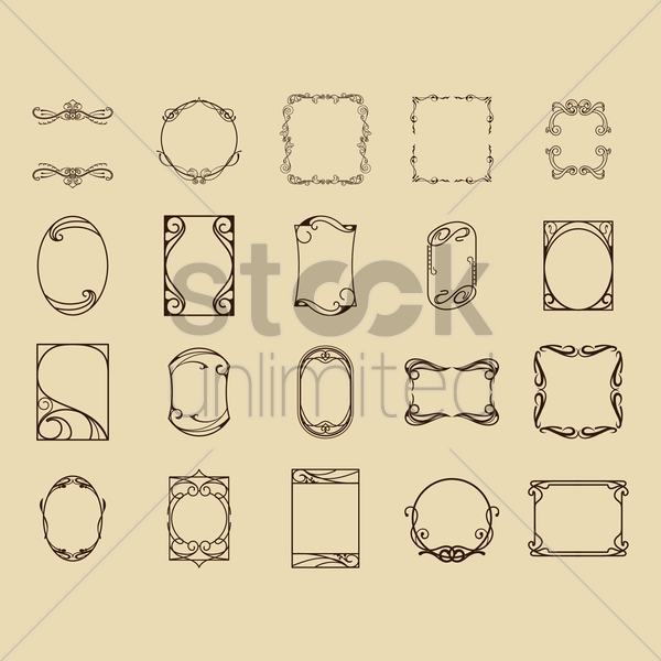 collection of vintage border frames vector graphic