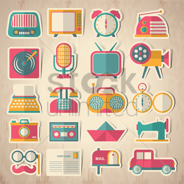 collection of vintage devices vector graphic