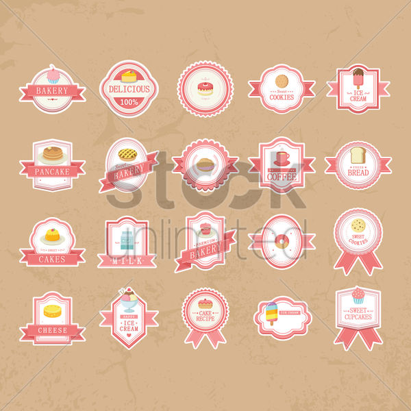 collection of vintage food labels vector graphic