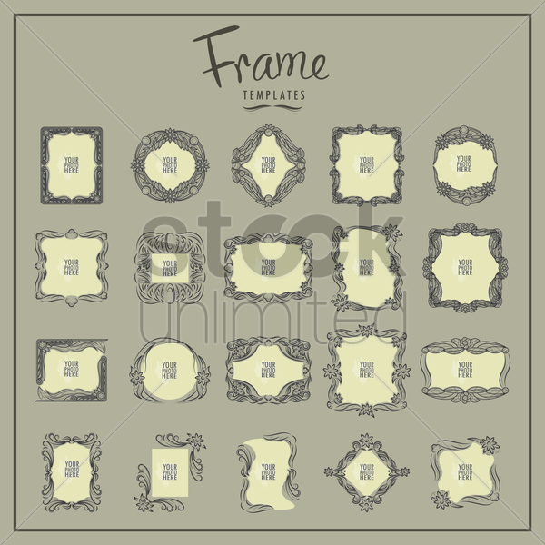 collection of vintage photo frame vector graphic