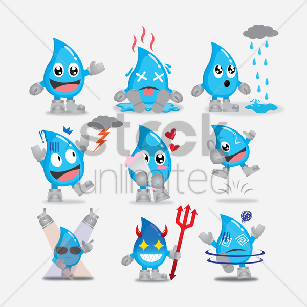 collection of water drops character vector graphic