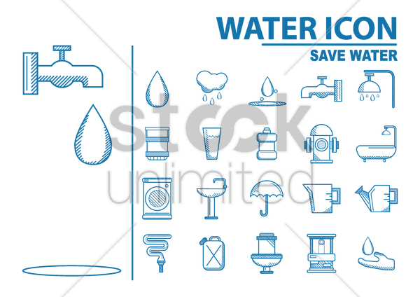 collection of water icons vector graphic