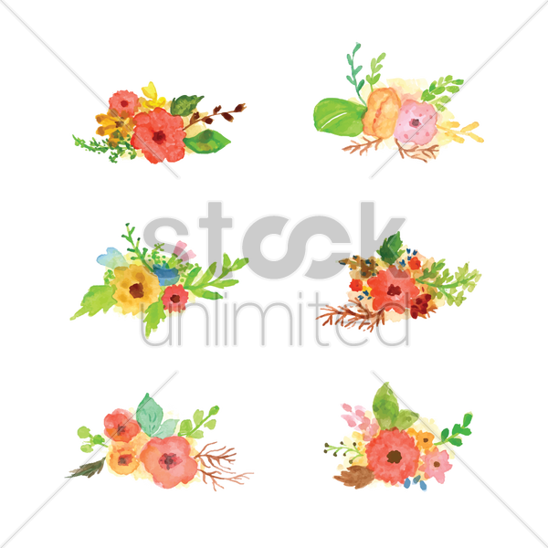collection of watercolor flowers with leaves vector graphic