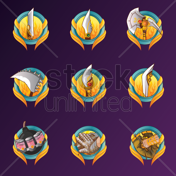 collection of weapons vector graphic