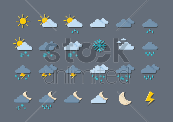Free collection of weather icons vector graphic