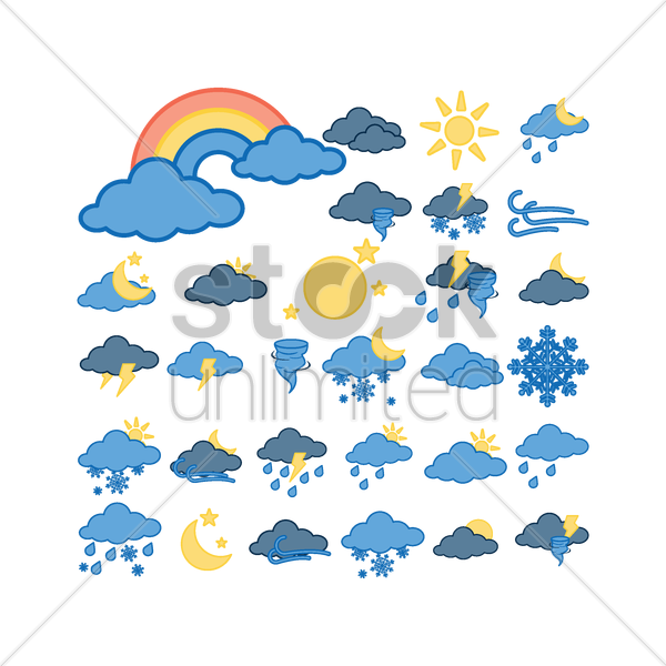 collection of weather icons vector graphic