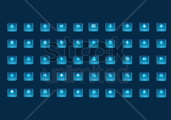 collection of web buttons vector graphic