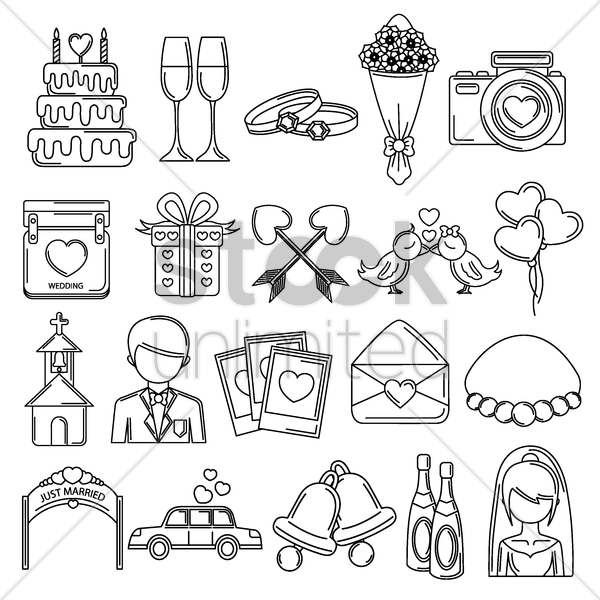 Free collection of wedding icons vector graphic