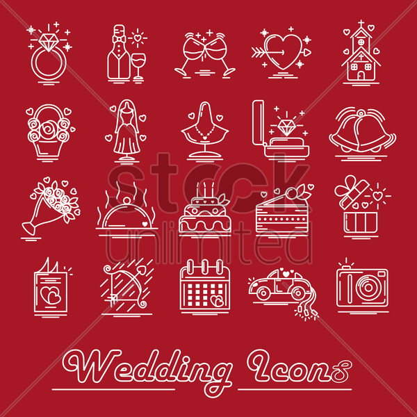 collection of wedding icons vector graphic
