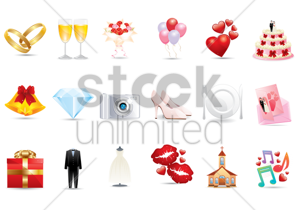 collection of wedding related icons vector graphic