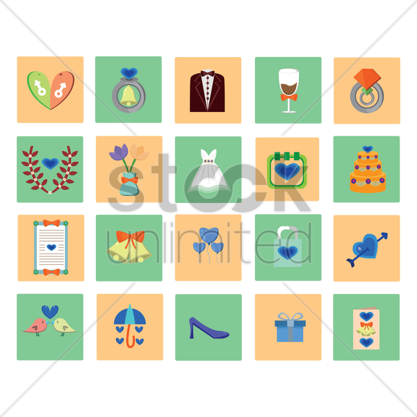 collection of wedding related objects vector graphic
