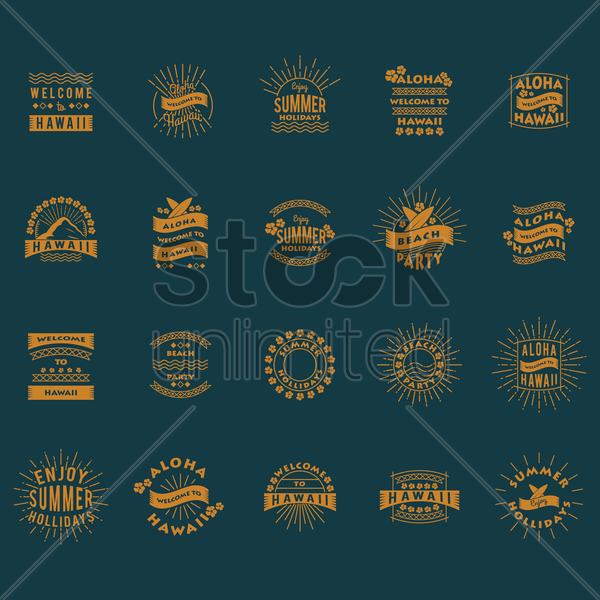 collection of welcome to hawaii labels vector graphic