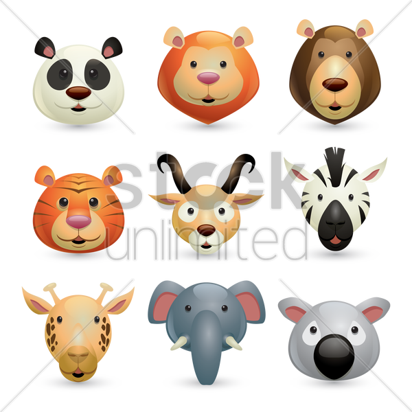 collection of wild animals vector graphic