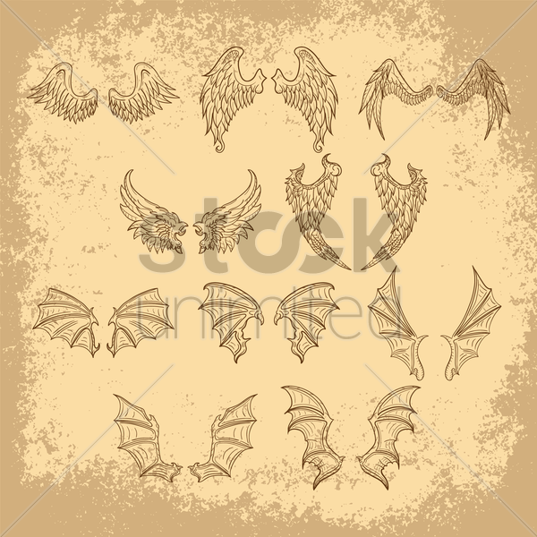 collection of wing designs vector graphic
