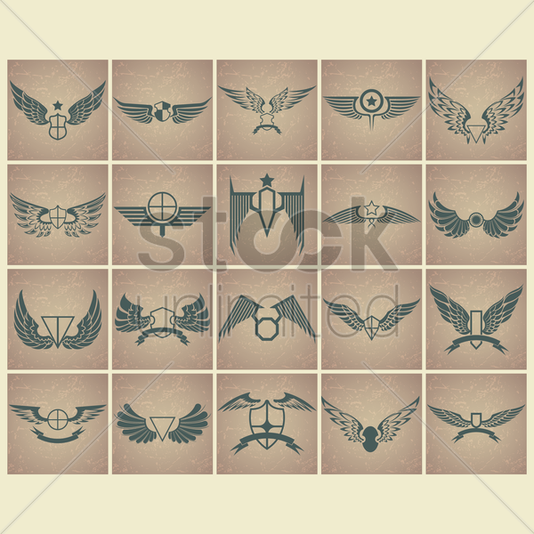 collection of wing emblems vector graphic