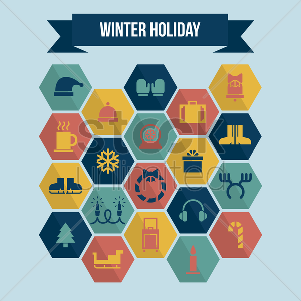 collection of winter holiday icons vector graphic