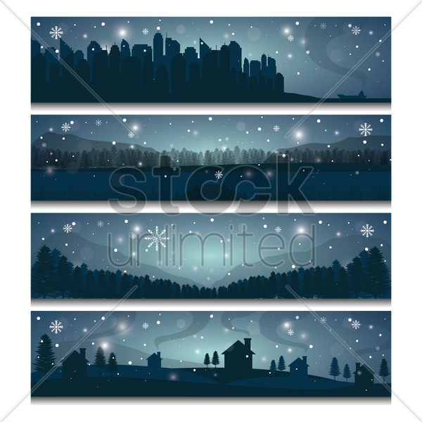 collection of winter landscape banners vector graphic