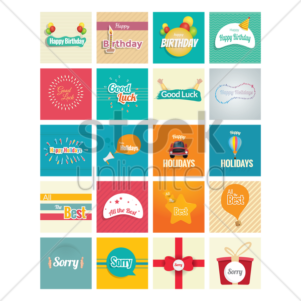 collection of wishes cards vector graphic