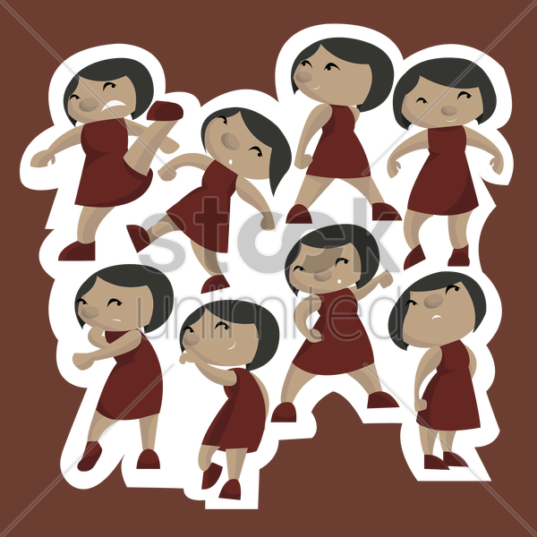 collection of woman gesturing vector graphic