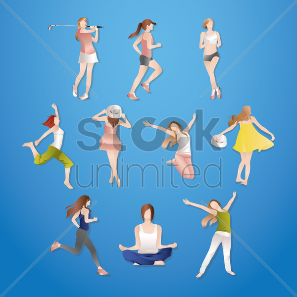 Free collection of women doing various activites vector graphic