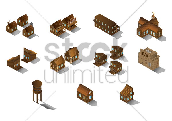 collection of wooden buildings vector graphic