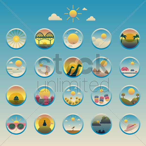 collection sun icons vector graphic