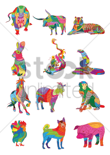 colorful animals vector graphic