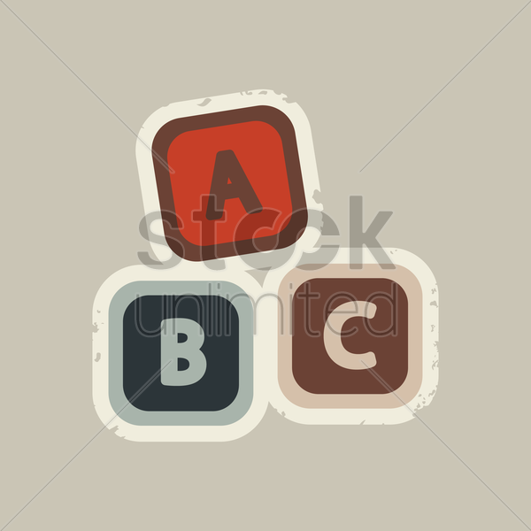 colorful cubes with letters abc vector graphic