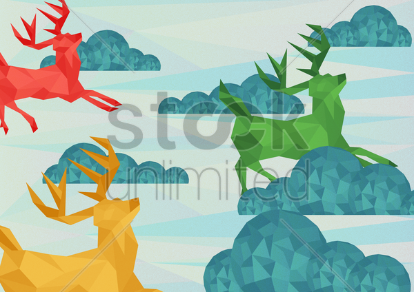 colorful reindeer vector graphic