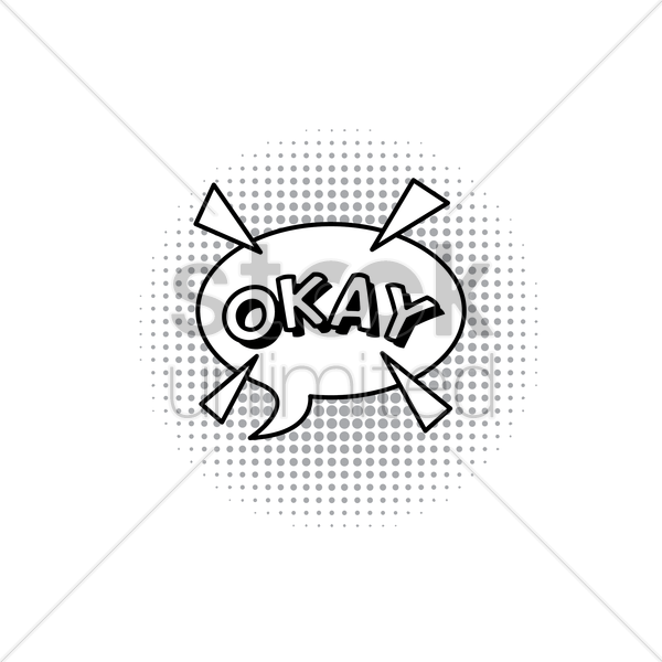 comic bubble okay vector graphic