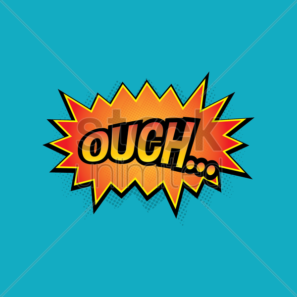 comic bubble ouch vector graphic