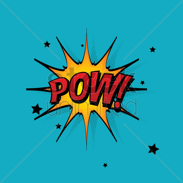 comic bubble pow vector graphic