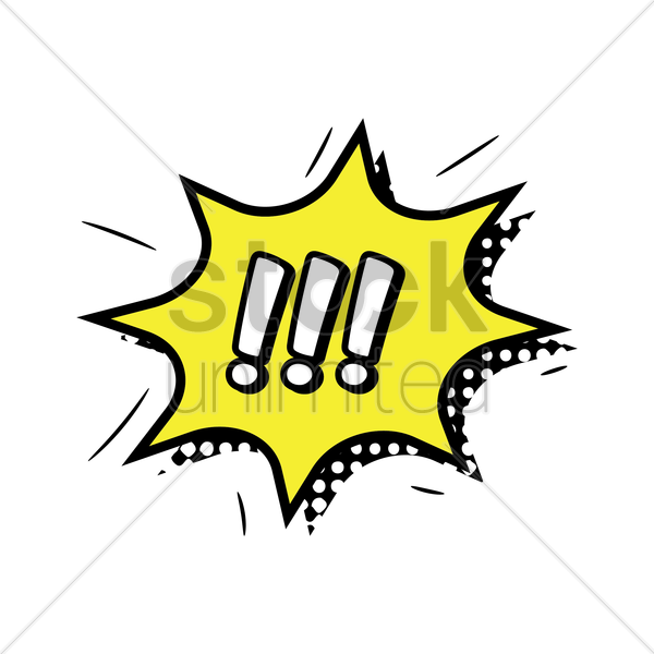 comic bubble with exclamation mark vector graphic