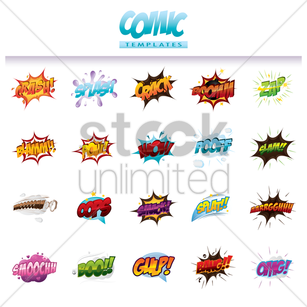 comic effect templates set vector graphic