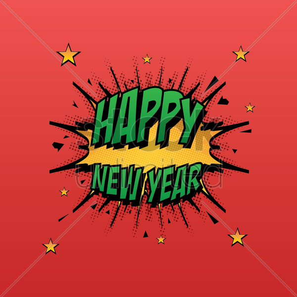 comic style happy new year vector graphic