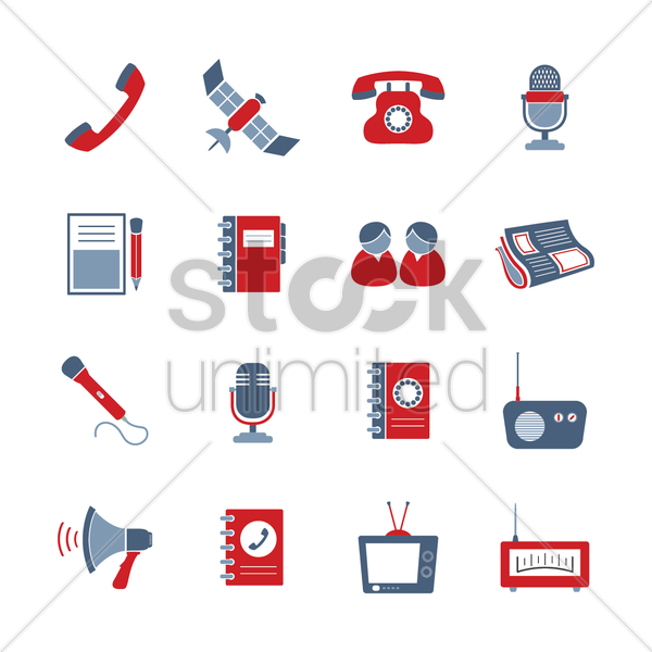 communication icons vector graphic