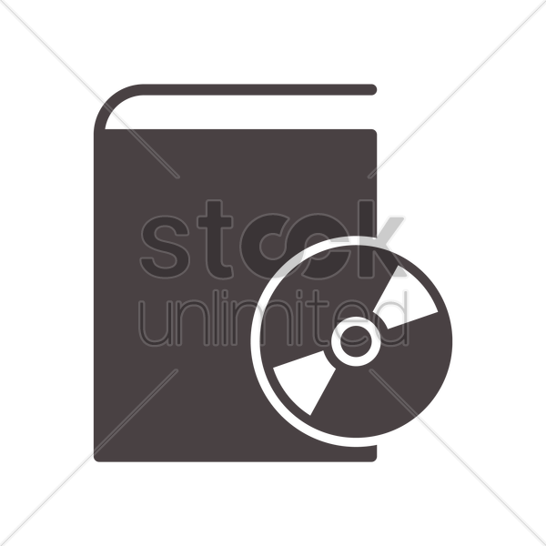 compact disk on book icon vector graphic