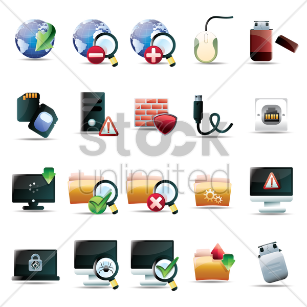 computer technology icon collection vector graphic