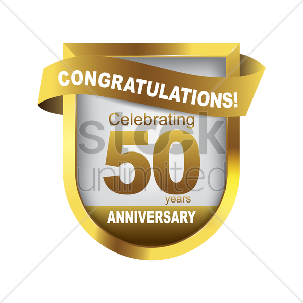 congratulations anniversary label vector graphic
