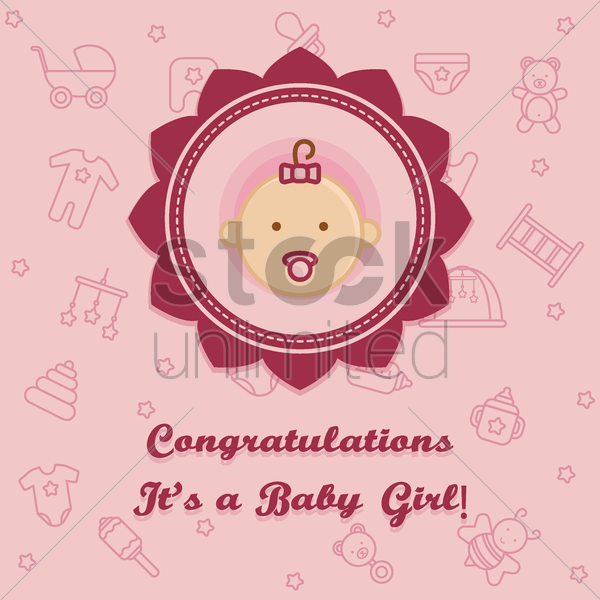 congratulations it's a baby girl card vector graphic