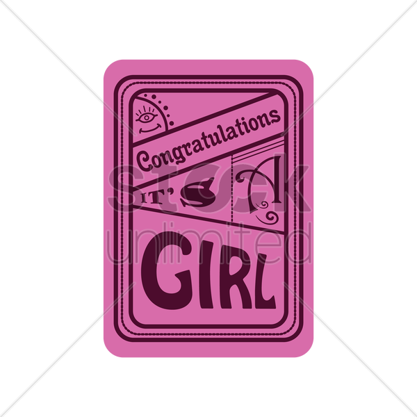 congratulations its a girl vector graphic