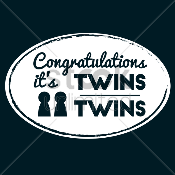 congratulations its twins vector graphic